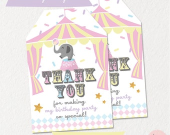 Circus THANK YOU TAGS, gift tags, circus birthday, circus party, circus favor tags, carnival favor tags, circus printables, pastel circus