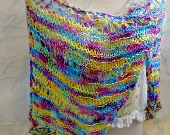 SALE 50 off /Trendy Shawl Hand knitted Lace Wrap /Womens Fashion / Boho Gypsy/ handpainted yarn / gift for her