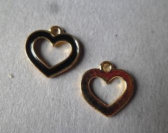 x 2 pendants, black enamel heart charm gold plated 14 x 14 mm