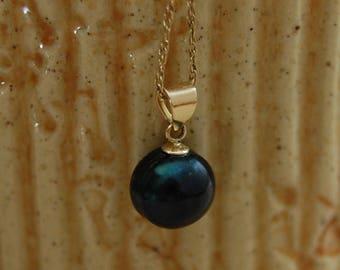Nisha- pearl pendant, freshwater pearl, pendant necklace, pearl jewelry, midnight black, June birthstone, women, gift, prom, goth, pendant