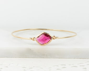 July Birthstone Gold Bracelet, July Birthstone Gold Bangle Bracelet, Ruby Gold Bangle, Gold Bracelet, Birthstone Bracelet, Bridesmaid Gift