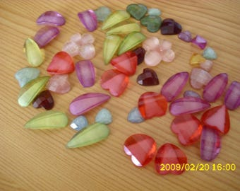 resin cabochons set in different shapes and sizes