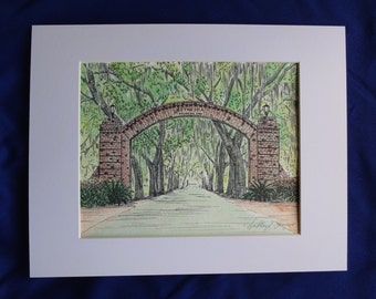 Bethesda Gate Savannah Black and White Print - Hand Painted Fine Art Print - Pen and Ink Drawing