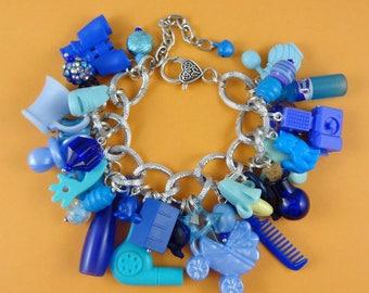 Blue Chunky Charm Bracelet - loaded with beads and repurposed mini plastic toys - funky big chain - kitsch cute Fairy-Kei Harajuku Decora