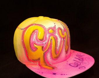 Golden Girl Snapback Hat Stones Graffiti Spraypaint