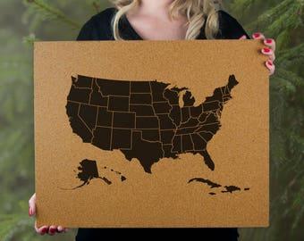 Cork Push Pin Travel Map - USA - Ready To Ship - United States Travel Gift