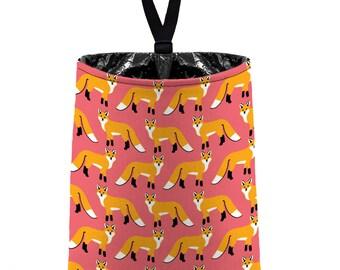 Car Trash Bag // Auto Trash Bag // Car Accessories // Car Litter Bag // Car Garbage Bag - Red Fox - Coral Pink orange
