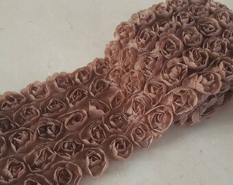 90 cm of tape lace flowers organza 8/9 cm wide