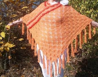 LIQUIDATION Stock SALE 30% OFF / Oversized Feminine Poncho Wedding Accessories Romantic Hand Knitted Crochet Capelet Women Orange Maternity