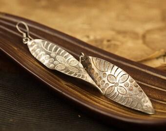 Solid 999 silver leaf earrings
