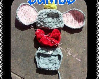 Crochet Dumbo, baby prop, crochet baby set, baby(made to order)
