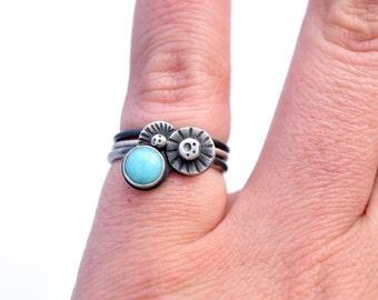 Bague en Amazonite, bijoux de l'océan, ensemble de l'anneau d'empilage en argent Sterling, anneaux en argent oxydé, à la main estampillé bague taille 6.5, bijoux de plage