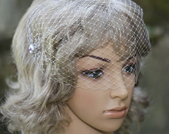 Grey Color Bandeau Veil Blusher 9 inch French Net Birdcage Veil on Lavender Rhinestone Hair Combs