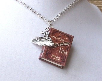 Huckleberry Finn with Riverboat Charm - Miniature Book Necklace