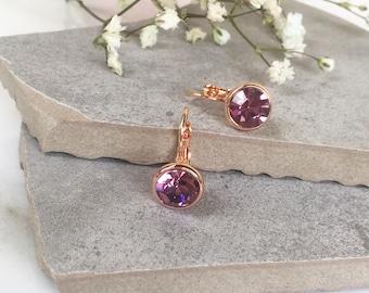 Light Purple Crystal Earrings, Rose Gold Crystal Earrings, Drop Dangle Earrings, Light Amethyst Crystal Earrings, Leverback Earrings, Gifts