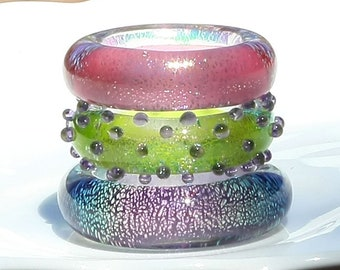 Set of 3 Handmade Glass Lampwork Dichroic Ring Beads with FREE Chain