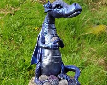 Friekion - a large Guardian Dragon building a Gem stone nest (hand sculpted) OOAK