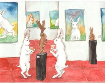 Art Gallery Opening - Fine Art Print - Rabbits