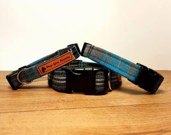 Dog Collar in Blue Plaid - Tartan - Check - Dog Accessories - Metal or Plastic Buckle - Adjustable