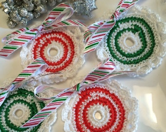 4 Crochet  Candy Cane Christmas  flowers. Use for decorating, scrapbooking, brooches, headbands & more,