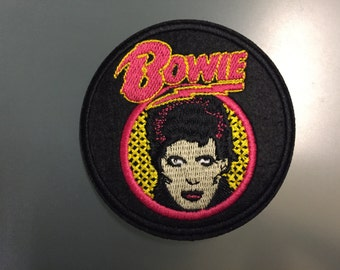 """DAVID BOWIE Patch - Embroideed Iron On Patch - 3"""" - ZIGGY Stardust"""