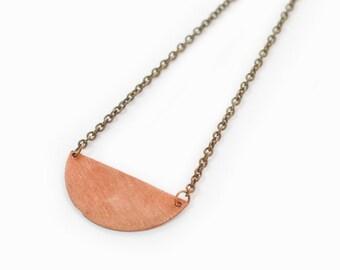 SALE -- FIRST QUARTER | Semi Circle, Antique Copper Coin Pendant Necklace