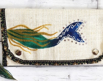 Painted Purse- Ladies Wallet- Mermaid Purse- Mom Gift- Burlap Purse- Fabric Wallet- Card Wallet- White Purse- Wallets for Women Gift for Her