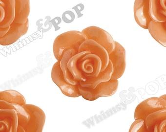 Large Orange Rose Cabochons, Flower Cabochons, Flower Cabs, Rose Flatback, 30mm x 28mm (R3-056)