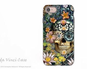 Floral Sugar Skull - Dia De Los Muertos iPhone 7 / 8 Tough Case - Botanical Skull Dual Layer Protective Case - Bali Botaniskull