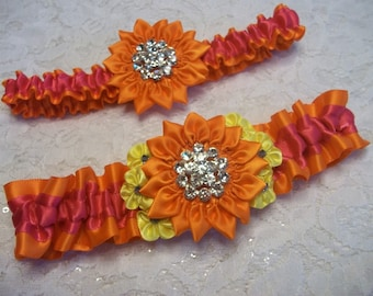 Orange Daisy Wedding Garter Set Surrounded by Yellow Flowers with Blue Centers on Hot Pink and Orange Band, Bridal Garter Set