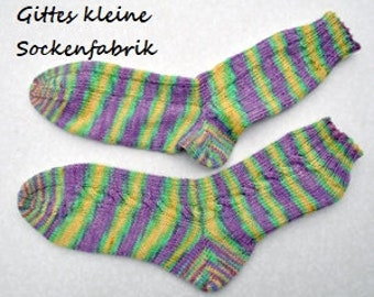 Hand knitted socks with braid 38/39