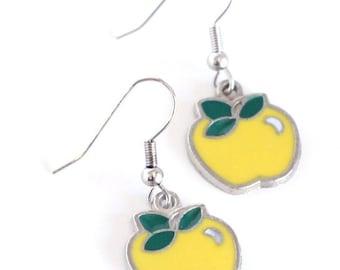 Yellow Apple Teacher's Pet Enamel Charm Earrings - Teacher Gifts - Womens Jewelry - Fashion