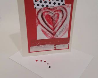 Handmade Valentines cards, recycled mixed media notecards