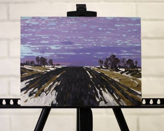 Autumn fields painting Plein Air Painting landscape painting Oil on cardboard Small painting art Home decor russian realism painting