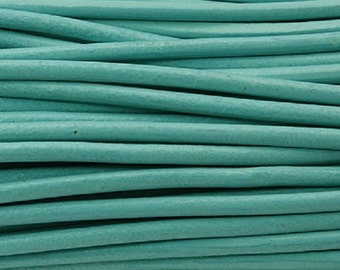 3mm Round Leather Cord, Cyan, 4 Feet