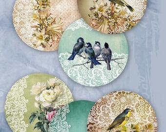 "75% OFF SALE Digital collage sheet ""Lace Circle"" - Printable Download Digital Tags Digital Vintage Digital Image ATC Card Birds Scrapbook"