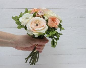 Peach ivory ranunculus Artificial flower Fake flowers Bouquet Artificial flowers bouquet Ranunculus bouquet - item 4693