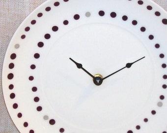 Plum Polka Dot Wall Clock Plate Clock Unique Wall Clock Purple Polka Dot Clock Kitchen Clock Home Decor Wall Decor No 449