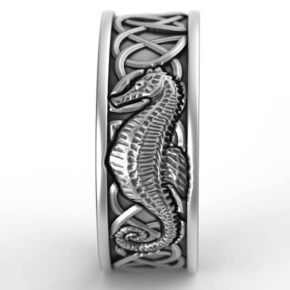Sterling Silver Celtic Seahorse Ring, Seahorse Wedding Band, Mens Wedding Band, Irish Wedding, Seahorse Jewelry, Custom Size 1163