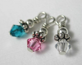 Add A Birthstone Crystal Dangle Sterling Silver Wire Wrapped  Swarovski Crystal Dangle Charms 4mm