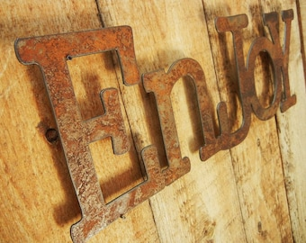 Enjoy, Metal Word Art for Indoors or Outoors