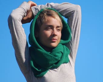 Infinity Scarf - Emerald Green Organic Cotton French Terry Circle Scarf - Chunky - Cowl Hood -  Organic Clothing