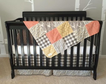 Woodland Themed Crib Bedding Set- Rag Quilt- Crib Bedding- Earthtones- Antlers