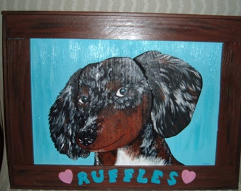 Custom pet portrait Long-haired daschund, Ruffles