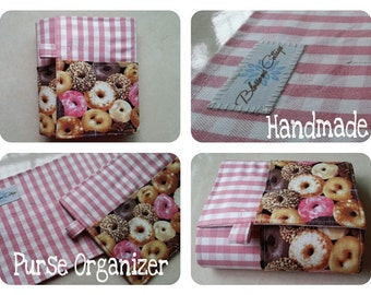 27 inch / 8 pockets Purse / Bag Organizer Insert - (Large) Pink Checked and Sweet Donuts print fabric