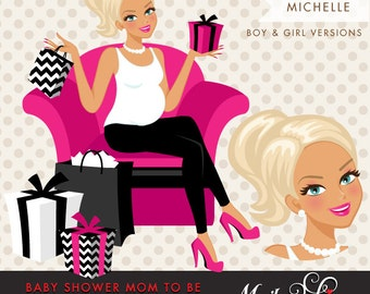 Blonde Pregnant Woman Character Design with gift boxes Clipart. Baby Shower Party Invitation Character. Hot Pink, Black Chevron