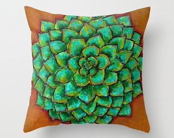 Succulent Agave, Aloe, Desert Plant Pillow Cover 16x16, 18x18 or 20x20