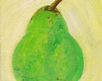 Pear original acrylic painting on canvas, fruit