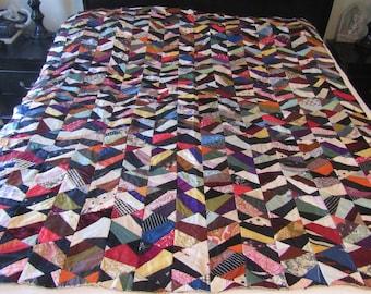 Vintage Crazy Quilt Top Unfinished Old Ties