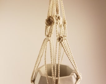 Macrame Hanger with Geometric Style Concrete Planter for Succulents, Violets, or Small Plants